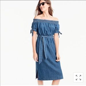 J.CREW Off-the-shoulder Chambray Dress Tie Waist 4